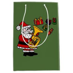 Funny Santa Claus Playing Tuba Gift Bag #Christmas #giftbags #Santa #Claus #tubs #funny #music And www.zazzle.com/tickleyourfunnybone*