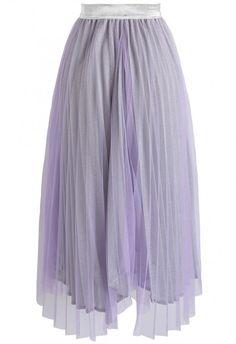 00bce44c684 Ultra-Glittery Pleated Mesh Skirt in Purple - Skirt - BOTTOMS - Retro