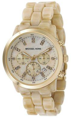 385045d1598  164 Michael Kors Watches - Chronograph Horn Acrylic Ladies Watch MK5217 Michael  Kors Gold