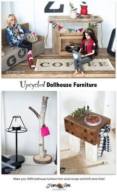 Upcycled barbie doll house reveal! Furniture from thrift store finds and wood scraps on FunkyJunkInteriors.net