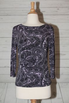 Style & Co. Sz S, Small 3/4 Sleeve Purple Black Paisley Stretch Blouse Top…
