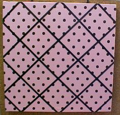 """Decorative Bulletin Boards and Decorative Push Pins. 24"""" x 24"""" Pink with brown polka dots fabric covered cork bulletin  board with criss cross ribbons"""