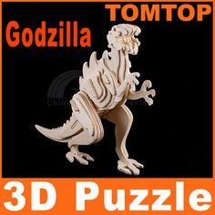 Wood 3D Puzzle Educational Toys Assembly Dinosaur Godzilla Gift for Kids | eBay