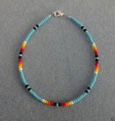 Bl Turquoise Bead Anklet,Ankle Bracelet Native American