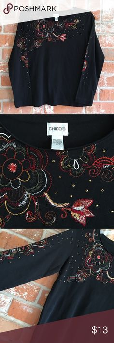 """Beautiful Top By Chicos Plus Size-Read Description This top is so pretty and in great condition. No rips stains or tears. Chico runs small so the tag says Size 2 . This top will fit a 1X or XL. Go by measurements please💜 It measures 21"""" underarm to underarm and is 25"""" long. I love the embroider on this one💕❤️❤️ Chico's Tops Blouses"""