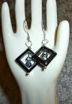 Hematite & silver crystal beads