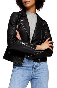 Topshop Fred Faux Leather Biker Jacket (Regular & Petite) | Nordstrom