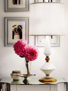 Fresh flowers make a room!   Totally agree, but more than that, I am obsessed with this lamp!