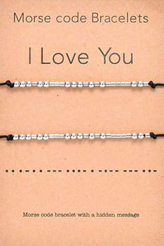 I Love You Morse Code Matching Bracelets | Valentines Day gifts for high school boyfriend