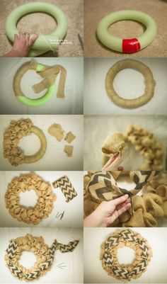 This post is about how I made a burlap wreath base from a pool noodle but if you do not have one lying around you can get a foam wreath circle at the dollar.Cut burlap into squares and start making burlap bubbles.burlap wreath with accent ribbon Burlap Projects, Burlap Crafts, Wreath Crafts, Diy Wreath, Wreath Ideas, Wreath Making, Pool Noodle Wreath, Pool Noodle Crafts, Pool Noodle Christmas Wreath