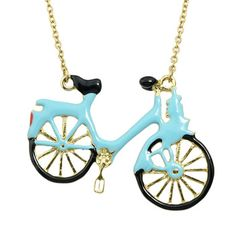 Hip Hop Jewelry Blue Color Fashion Graceful Lovely Enamel Bicycle Choker Necklace Chain Women Jewelry
