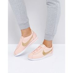 Nike Gold Pack Cortez Trainers (€91) ❤ liked on Polyvore featuring shoes, sneakers, orange, nike trainers, gold shoes, gold high tops, gold sneakers and orange sneakers
