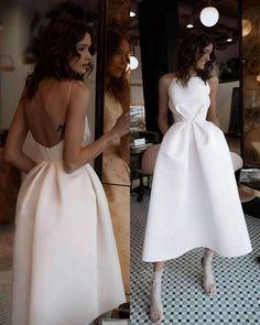 Sexy White Open Back Abendkleid, Tee Länge Satin Partykleid - Elegant Dresses, Pretty Dresses, Sexy Dresses, Beautiful Dresses, Evening Dresses, Fashion Dresses, Formal Dresses, Wedding Dresses, Formal Dress Stores