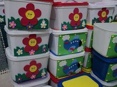 Artesanais & Cia: Potes de Sorvetes Decorados!! Diy And Crafts, Crafts For Kids, Arts And Crafts, Milk Cans, Seashell Crafts, Preschool Crafts, Toy Chest, Storage Chest, Decorative Boxes