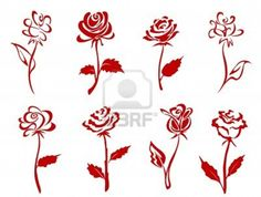 Belle Rose Rosse Isolato Impostare Illustrazione Clipart Royalty Free