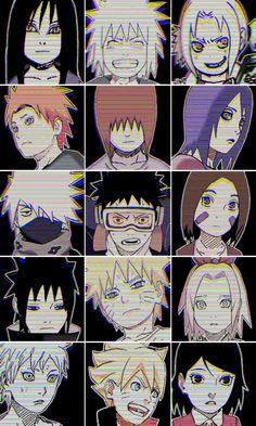 Orochimaru, Jiraiya, Senju Tsunade, Yahiko, Nagato, Konan, Hatake Kakashi, Uchiha Obito, Nohara Rin, Uchiha Sasuke, Uzumaki Naruto, Haruno Sakura, Mitsuki, Uzumaki Boruto and Uchiha Sarada