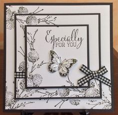 Black & White Triple Stamped by Michele G - Cards and Paper Crafts at Splitcoaststampers Penny Black Cards, Penny Black Stamps, Butterfly Cards, Flower Cards, Card Making Inspiration, Making Ideas, Box Photo, Bday Cards, Stamping Up Cards