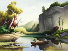 Ozark Reflections', oil on canvas by Thomas Hart Benton (1889-1975, United States)