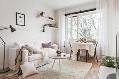 plan studio 20m2, comment meubler un studio, tapis beige en fourrure