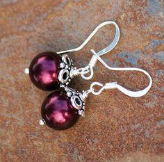 Burgundy Pearl Earrings Swarovski Jewelry by EarthlyBaubles, $14.00