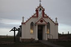 WW2 Italian Chapel, Kirkwall, Scotland (check out the sunset reflection in the window)