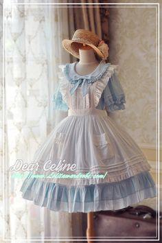 DearCeline -Crystal Summer- Lolita Apron Harajuku Fashion, Kawaii Fashion, Lolita Fashion, Cute Fashion, Girl Fashion, Old Fashion Dresses, Old Dresses, Vintage Dresses, Girls Dresses