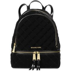 Michael Michael Kors Rhea Zip Medium Backpack ($298) ❤ liked on Polyvore featuring bags, backpacks, black, utility bag, michael kors, utility backpack, quilted backpack and day pack backpack