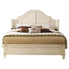Lend a touch of breezy appeal to your master suite or guest room with this charming bed, showcasing a louvered headboard and raised bead molding.    ...