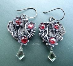 Wire Wrapped Sterling Silver Dangle Earrings by LovePotionDesign, €160,00