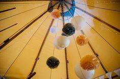 Hanging Pom Poms - Derbyshire Sami Tipi Wedding - Captured by Humpston & Bull