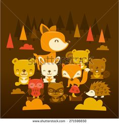 A cartoon vector illustration scene of super cute woodland creatures and critters. Included in this set:- deer, raccoon, bear, beaver, owl, porcupine, squirrel, rabbit and fox.