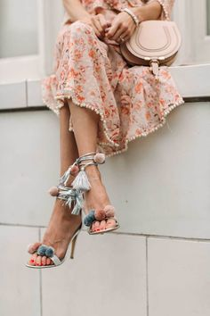 These Are The 7 Sandal Trends You're About To See Everywhere This Summer - Cute Pastel Colour Baby Pink And Blue Pom Pom Detail Tassel Wrap Around Summer High Heeled Shoes