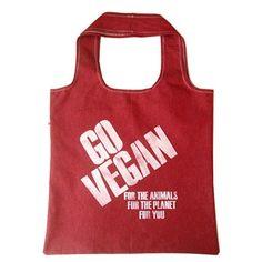 Go Vegan Red Tote by LoisEastlund on Opensky