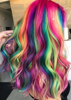Unicorn Hair Color Ideas In 2020 Amazing Shades Rainbow Hair Colors for 2018 Hair Dye Colors, Ombre Hair Color, Blonde Color, Cool Hair Color, Rainbow Hair Colors, Blonde And Blue Hair, Pastel Rainbow Hair, Neon Hair, Bright Hair Colors