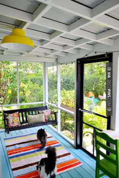 Cool! - screened in  porch - love. | CHECK OUT MORE PORCH AND SCREEN DOOR IDEAS AT DECOPINS.COM | #porch #porches #screendoor #screendoors #outside #exterior #homedecor #porching