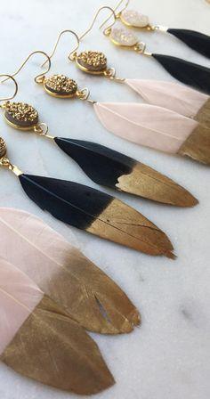 Gold Dipped Feather Earrings, Gold Druzy Earrings #Jewelry #Druzy #Feathers #Earrings #Boho #Style #OOTD