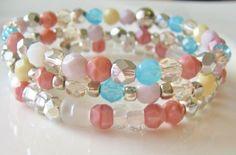 Pink Beaded Bracelets Silver Bead Bracelets by beprettybeyou, $17.00