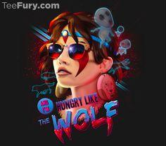 Hungry Like the Wolf T-Shirt $11 Princess Mononoke tee at TeeFury today only!