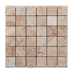 "Buy 2 X 2 Philadelphia Travertine Tumbled Mosaic Tile Sample Product Attributes - Item: Premium (SELECT) Quality 2"" X 2"" PHİLADELPHİA TRAVERTINE TUMBLED MOSAIC TILE (ON-MESH) - Dimensions (per piece):"