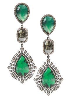 Sutra - Emerald and Diamond Drop Earrings