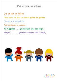 un nom un prenom deux yzux un nea yn menton Social Studies Projects, Petite Section, French Teacher, French Immersion, Ice Breakers, French Lessons, Montessori, Acting, Kindergarten