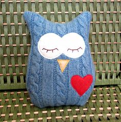 Owl Pillow Plush  Recycled Wool   Cable Blue by PinkBunnyPatterns, $26.00