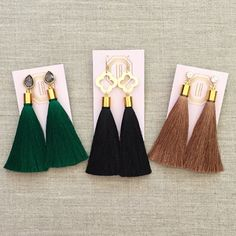 A Loves Affect Original We love these super soft, lightweight tassel earrings for fall! Please select from cubic zirconia studs, smokey grey crystal teardrop posts or gold brushed quatrefoil connectors as well as your tassel color from a selection of hand-picked fall favorites!  ♥ Please allow 7-10 business days for your order to be processed and shipped! ♥ Please be aware that due to the unique and handmade nature of each product, colors, shapes, and bead sizes may vary slightly from the…