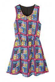 Plaid Patterned Chiffon Vest Dress In Blue