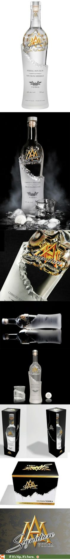 """Signature Vodka (herbal-infused) in an unusual chiseled bottle design."""