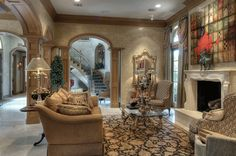 Corner Kitchen Behind Living Room With Corner Fireplace And Arches Dream Home Pinterest