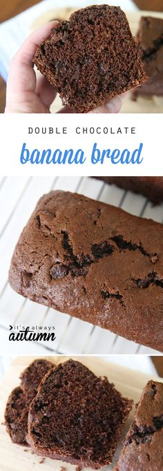 Double chocolate banana bread is AMAZING! So rich and delicious. The easy recipe makes 4 small loaves perfect for gifts.