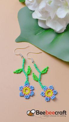 Beaded Flowers Patterns, Beaded Earrings Patterns, Beading Patterns, Seed Bead Patterns, Beaded Necklaces, Bracelet Patterns, Beaded Crafts, Diy Crafts Jewelry, Jewelry Ideas