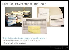 Photos in a presentation that depict a paper-based process