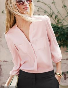 Black Pant Top Pink Fashionable Blouse & Clutch